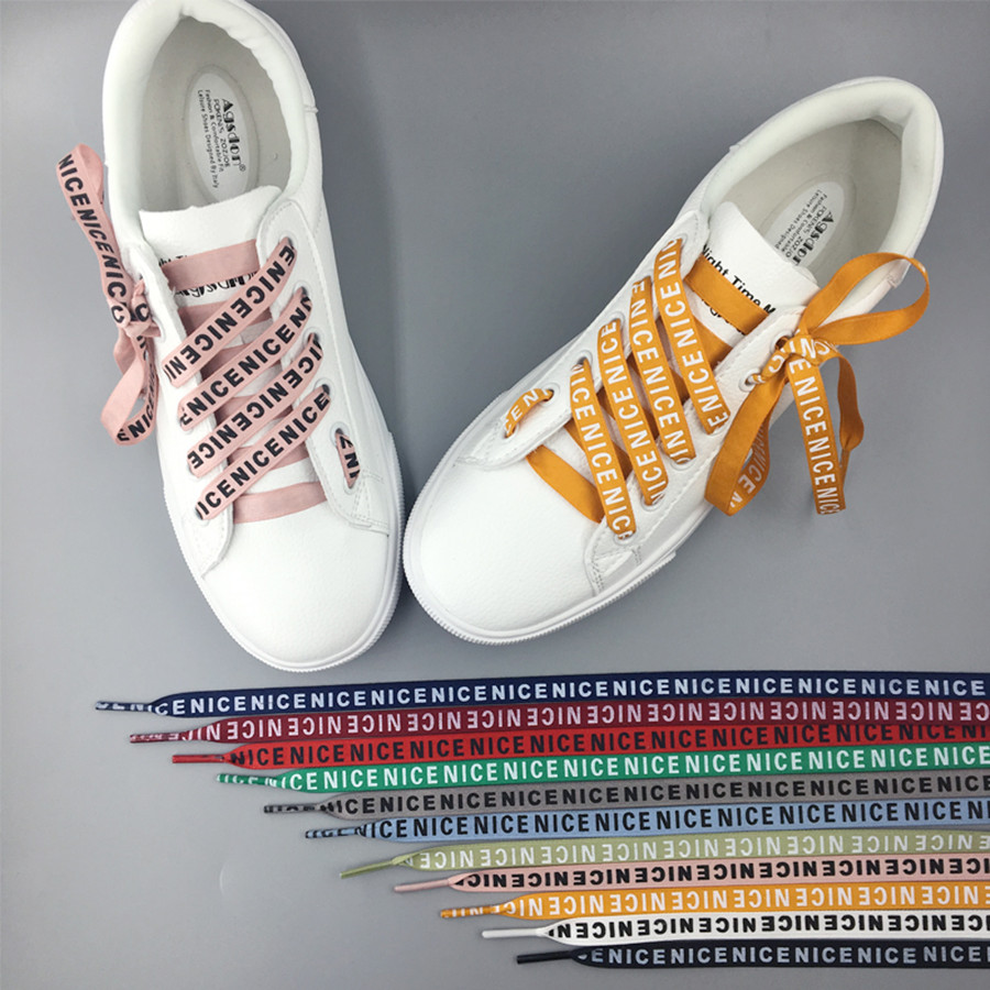 High Quality 80 /100/120/140 cm NICE Letter Printing Shoelaces 1 cm Width Women Men Colorful Leather Sports Casual Shoes LacesHigh Quality 80 /100/120/140 cm NICE Letter Printing Shoelaces 1 cm Width Women Men Colorful Leather Sports Casual Shoes Laces