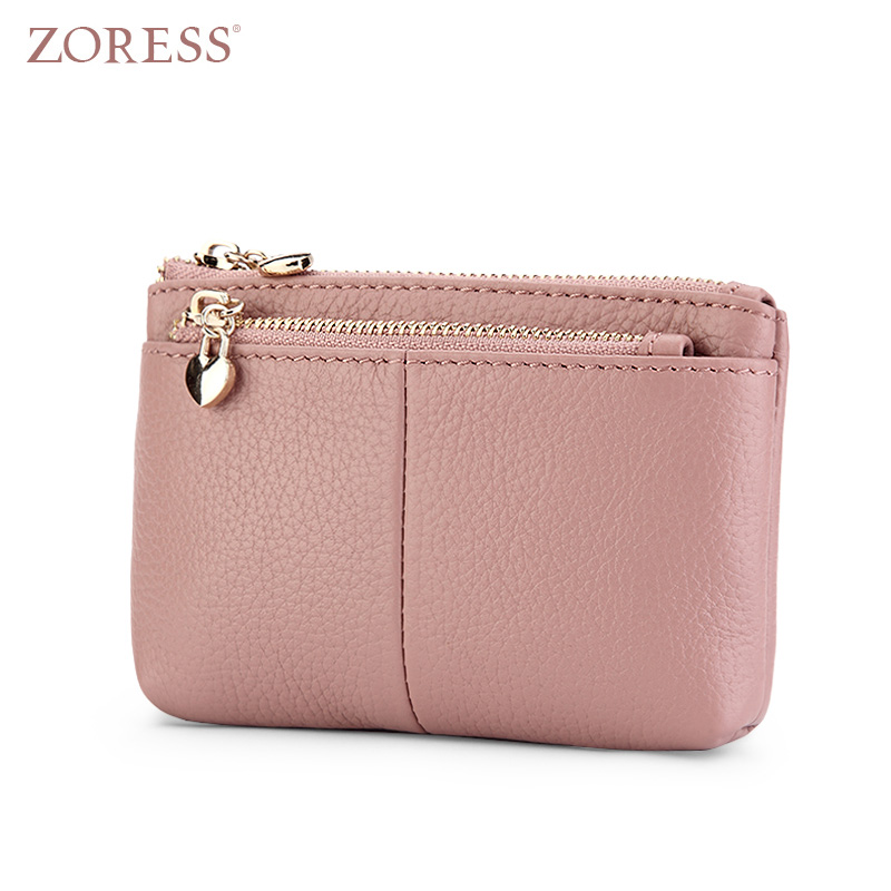 ZORESS Women Genuine Leather Coin Purse With Key Ring Candy Color Lady's Triple Zipper Mini Credit Card Holder Wallet