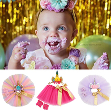 Summer Baby Girl Clothes Set Unicorn Headband+Lace Chiffon TUTU Skirt+2Pcs Floral Hairband Birthday Gift Girls Outfit