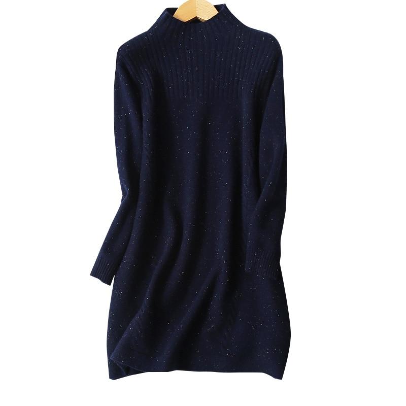 pure mink cashmere dots clip yarns knit women fashion turtleneck long pullover sweater dress dark blue 2colors M 2XL