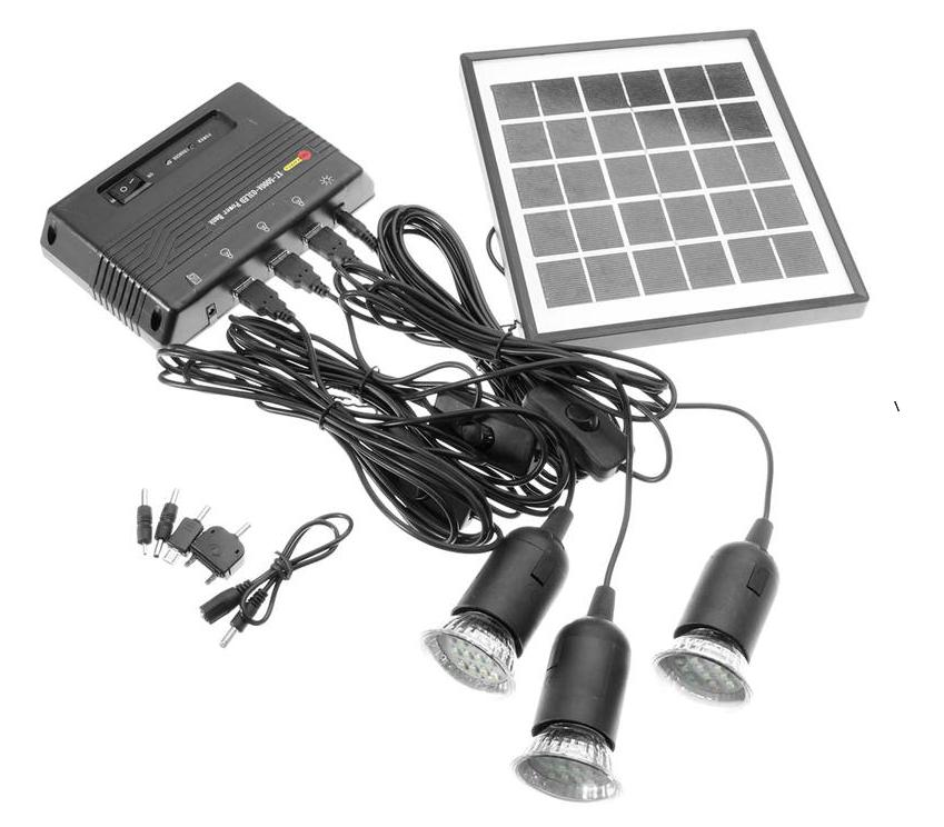 4 W solaire système d'énergie. 5 V portable solaire power bank capacité 5000 mah 4 W panneau solaire et 3 pcs LED light & USB chargeur. livraison gratuite