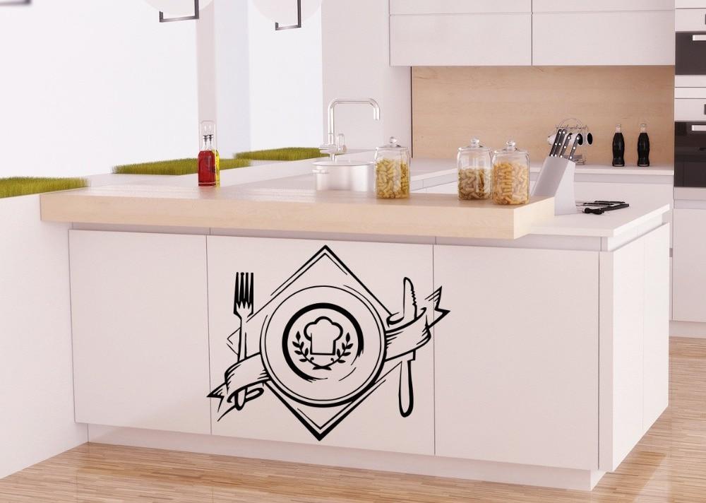 Cafe SHop Logo Art Designed Knife With Fork Pattern Wall Decals Home Kitchen Window Decorative Murals Sticker