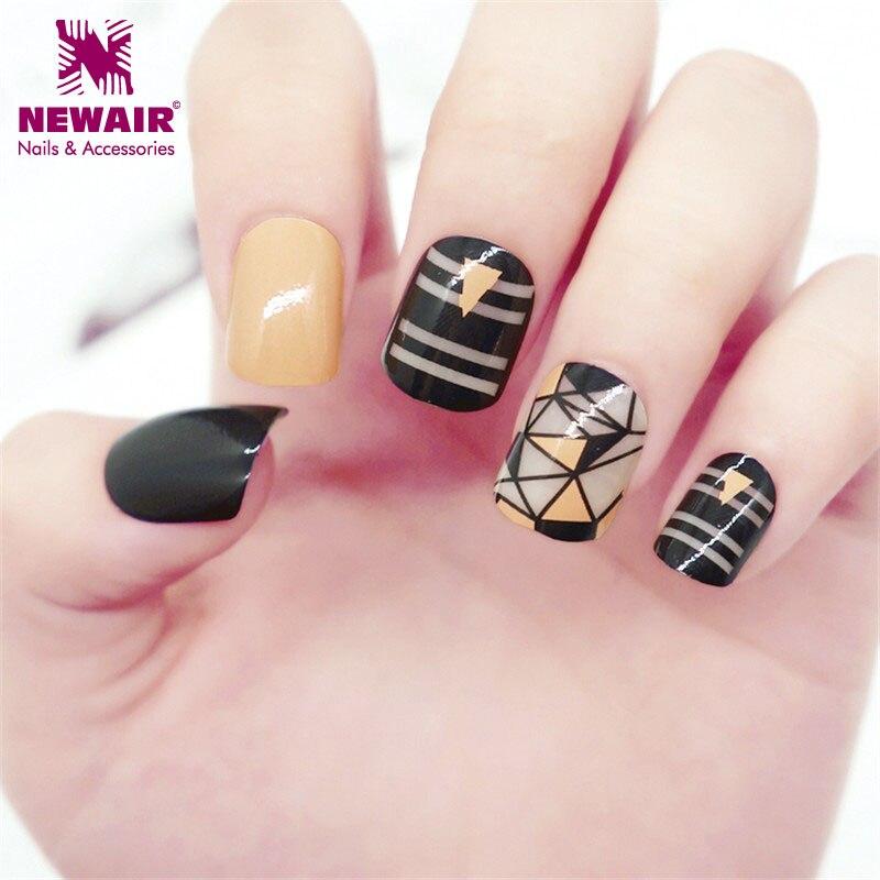 Short Square False Nails with Glue Black Fake Finger Nail Tips ...