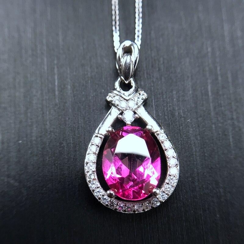 Uloveido vérifié collier de topaze rose femmes, 925 bijoux en argent Sterling de pierres précieuses de mariage, 7*9mm certificat de boîte de velours FN176