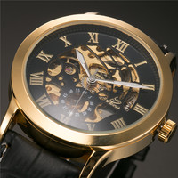 SHENHUA Skeleton Clock Men Leather Strap Mens Watches Top Brand Luxury Automatic Steampunk Watch Montre Homme