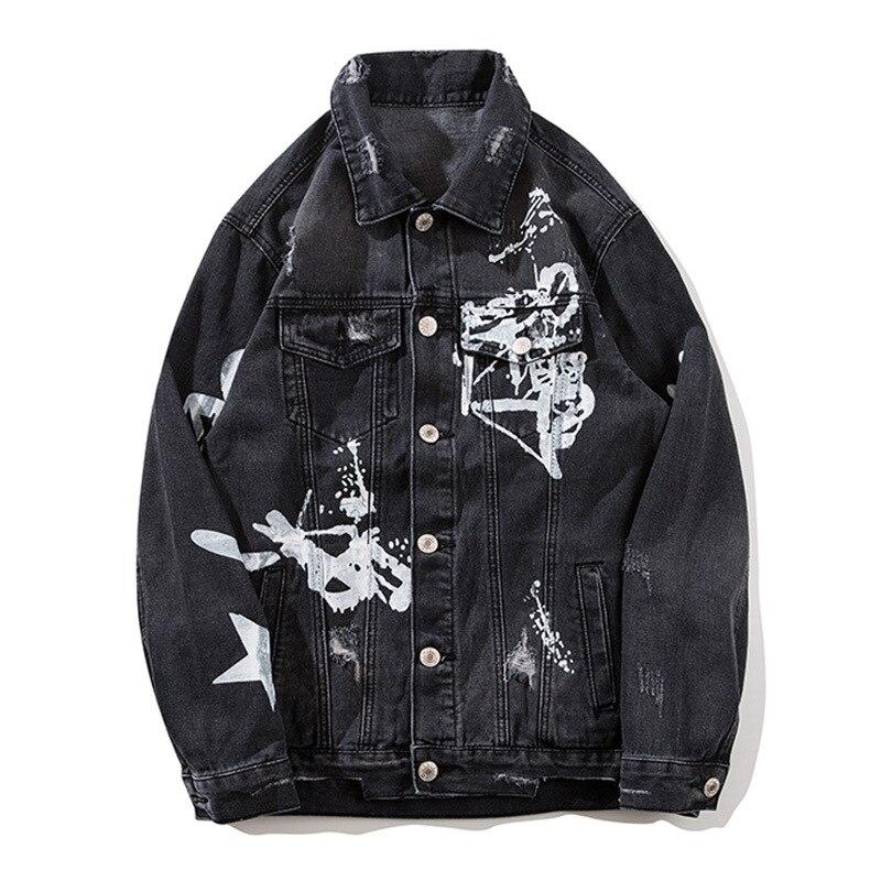 Aboorun Hip Hop Mens Oversized Denim Jackets Black Painted Ripped