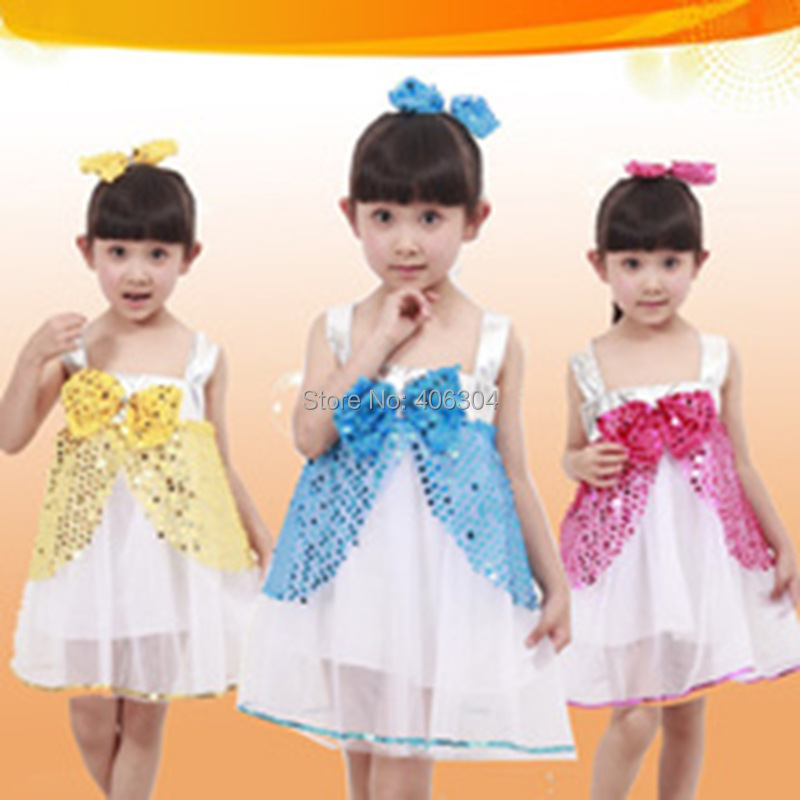 Free shipping .hot pink,blue ,yellow,red,Children jazz dress with falbala,Girl's sequin stage dance dresses with headband