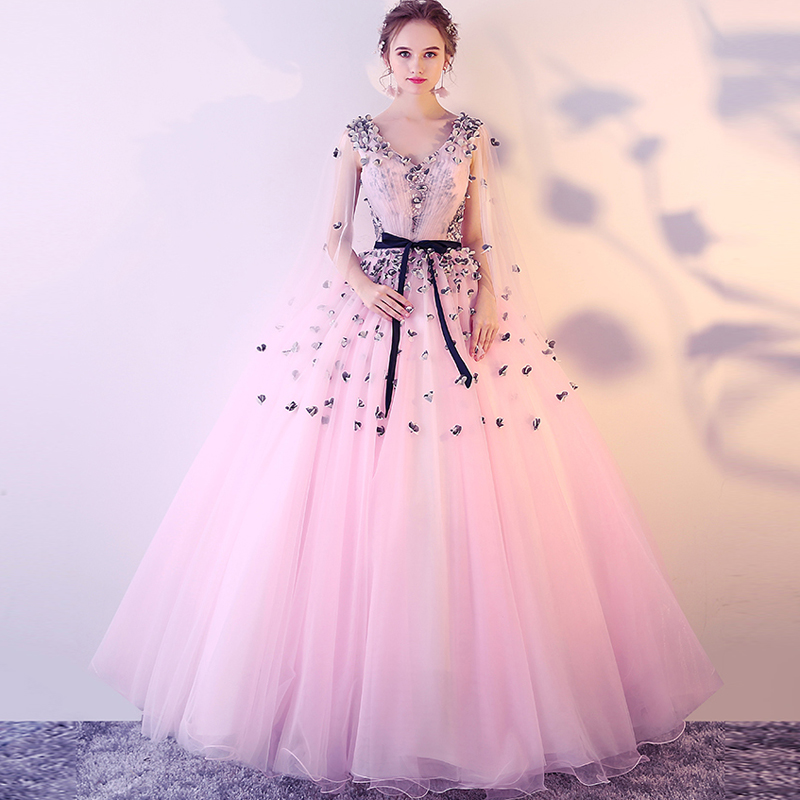 Romantic 2019 Colorful Tulle Pink A line Appliques Off the Shoulder V neck Quinceanera Dresses Beautiful