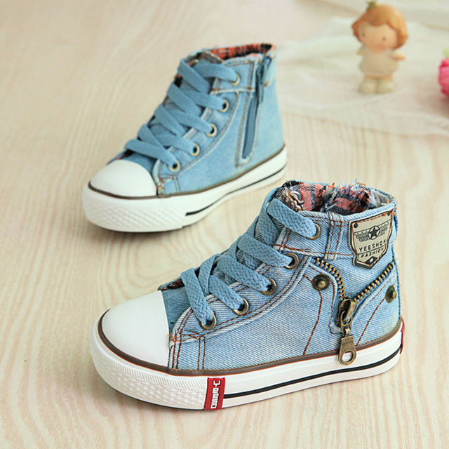 2017 Canvas Children Shoes Breathable Boys Casual Shoes Kids Shoes for Girls Jeans Denim Flat Boots 25-37