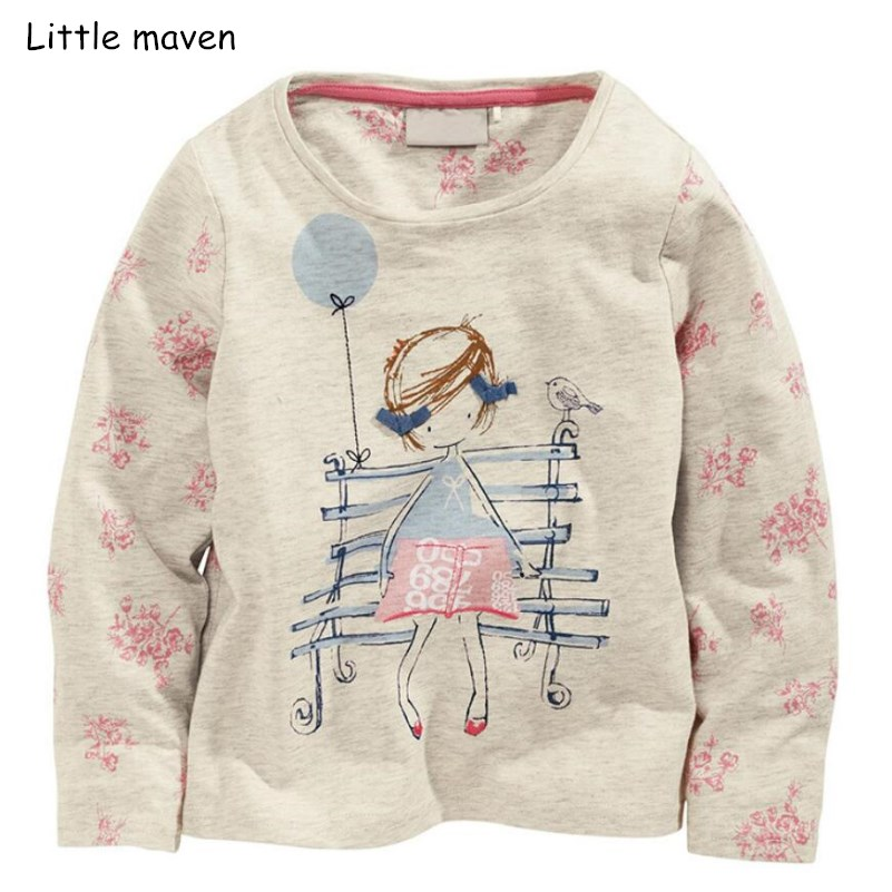 Little maven children brand baby girl clothes 2018 autumn new design girls cotton tops balloon little girl print t shirt 51224
