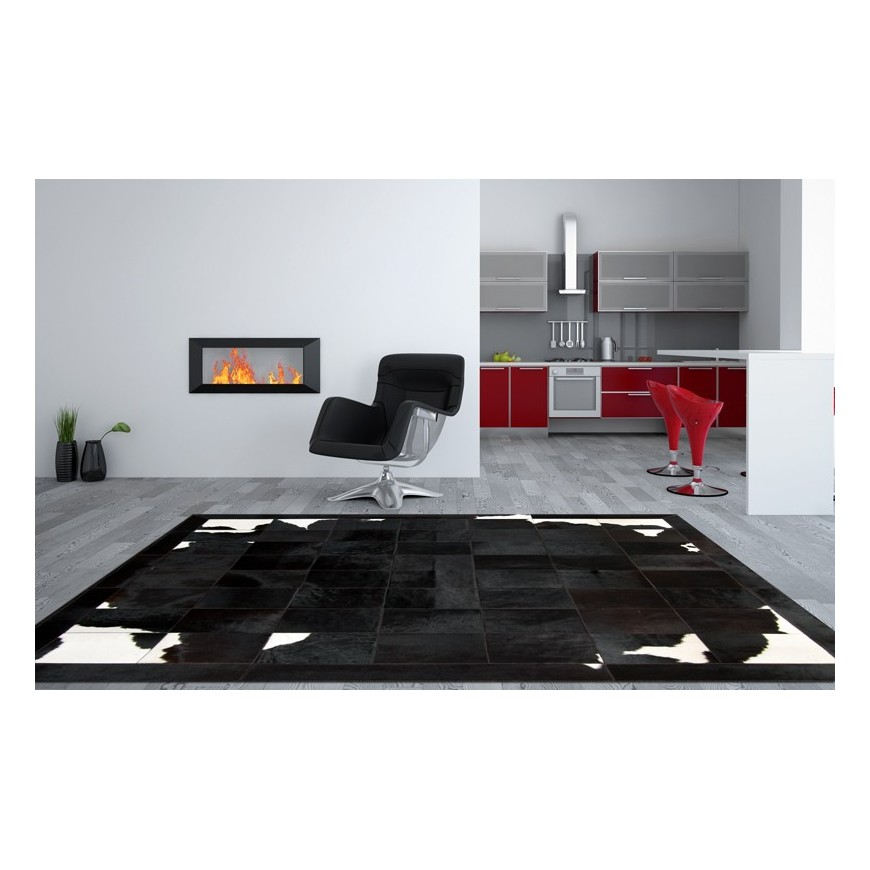 patchwork cowhide rug RF B04 black brown white Chic family offer a stunning combination of supple blacks and rich natural whites in Rug from Home Garden