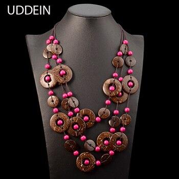 daa976b0437f UDDEIN Bohemia declaración Collar para mujer Multi capa cuentas madera  colgante Collar largo Vintage Boho joyería