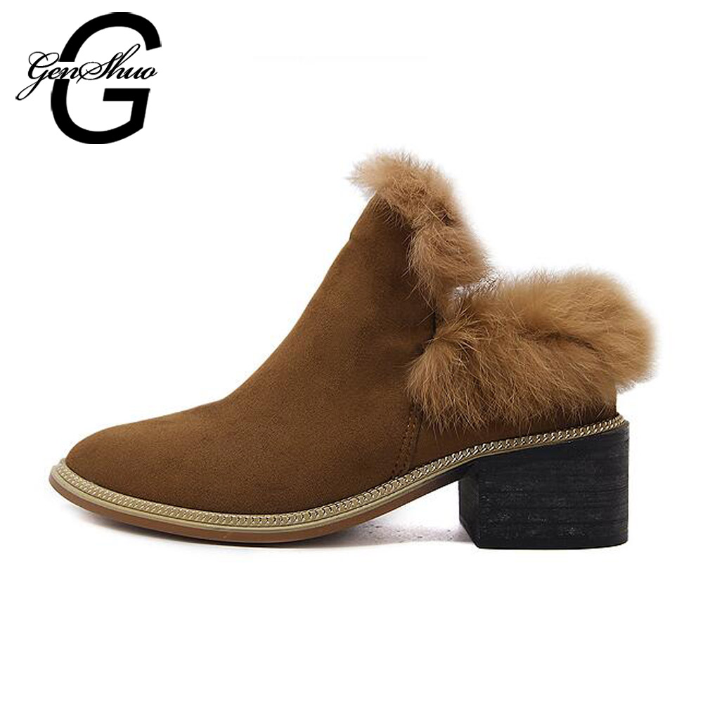 GENSHUO Fashion Women Winter Boots Brown Black Female Snow Plush Ankle Boots Flock Slip on Warm Shoes Zapatos Mujer Botas 2016 new arrival ankle boots for women fashion winter shoes warm plush snow boots shoe bowtie women boots polka dot botas mujer
