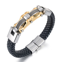 FashionMen S Leather Bracelets Bangle Stainless Steel Silver Gold Plated Braided Cuff Male Bracelet