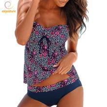 2020 Tankini Plus Size Bademode Frauen Push Up Badeanzug Retro Bikini Set Vintage Print Badeanzug Bademode Maillot De Bain 3XL
