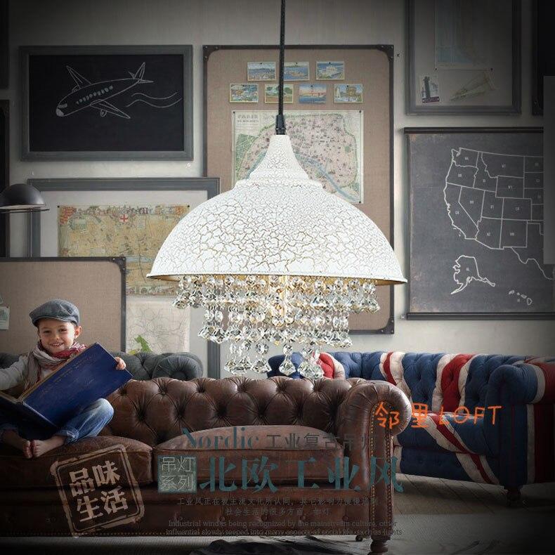 Лофт Винтаж американский кантри Лофт промышленности кристалл железа ретро подвесной светильник ресторан Алюминиевый горшок висит лампа
