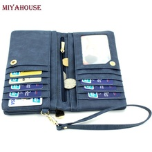 High Capacity Womens Wallet Long Dull Polish PU Leather Wallet Female Double Zipper Clutch Coin Purse Ladies Wristlet