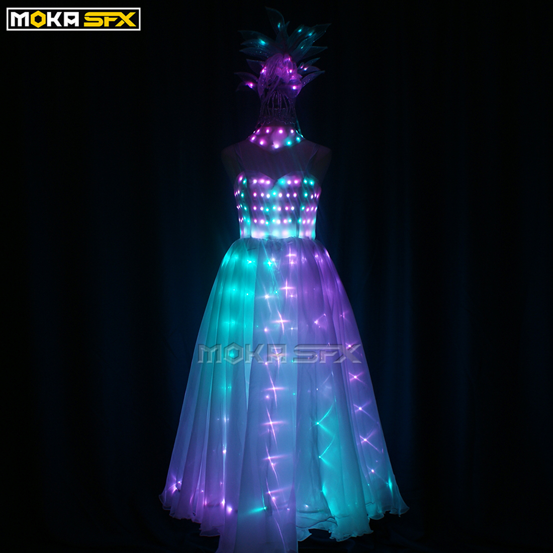 Women LED Dress Robot Costume LED Clothing Luminous Light Stage Dance Costumes Halloween Performance Party Decorations