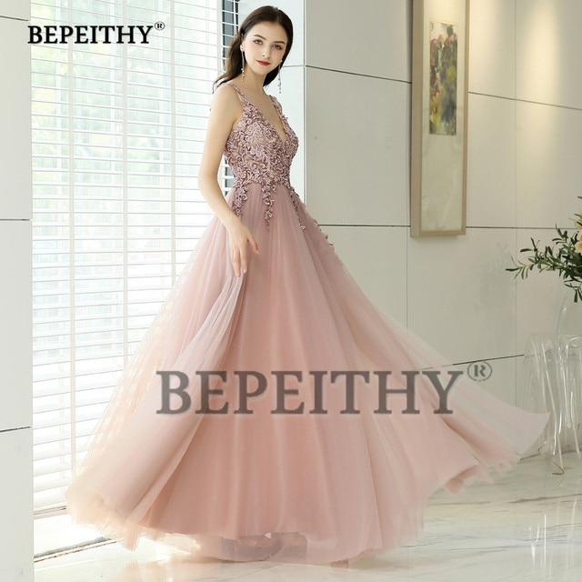 New Arrival 2019 V neck Pink Long Evening Dress Party Elegant Vestido De Festa Vintage Prom Gowns With Slit  Abendkleider 3