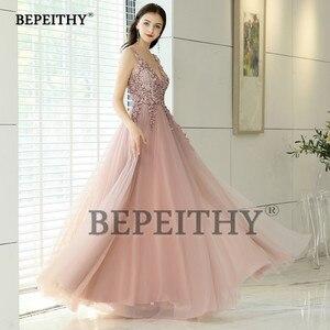Image 4 - Женское винтажное вечернее платье, длинное розовое платье с V образным вырезом и разрезом, элегантное платье для выпускного вечера, 2020