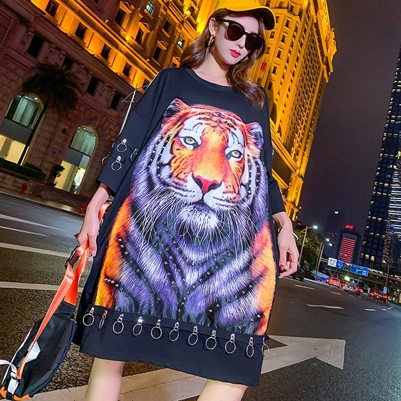 2019 Sring et été t-shirt motif tigre femmes anneau en métal lâche t-shirts noirs Style Punk t-shirt