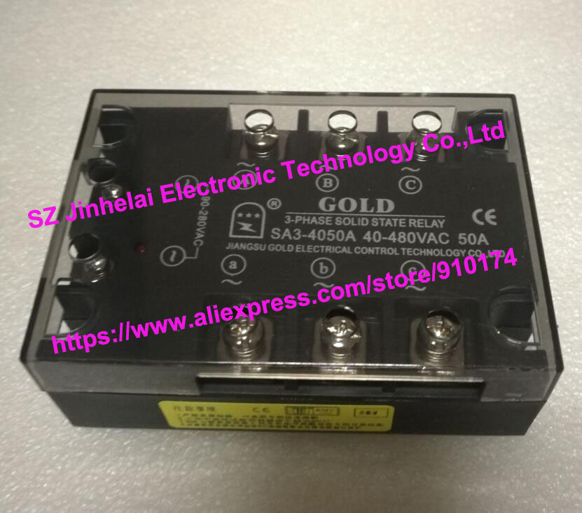 New and original SA34050A SA3-4050A GOLD 3-PHASE AC Solid state relay 40-480VAC 50A new and original sa34080d sa3 4080d gold solid state relay ssr 480vac 80a