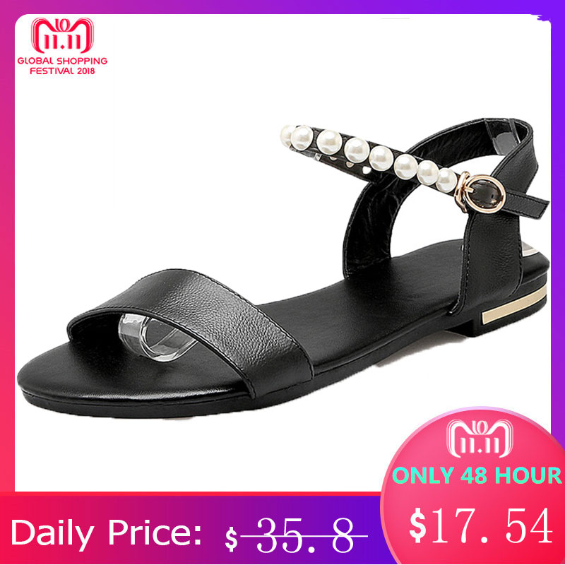 MORAZORA 2018 new high quality genuine leather shoes woman flat buckle strap women sandals summer ladies black beach shoes morazora low price high quality cow suede nubuck leather women sandals flat casual summer wedges ladies mixed color beach shoes