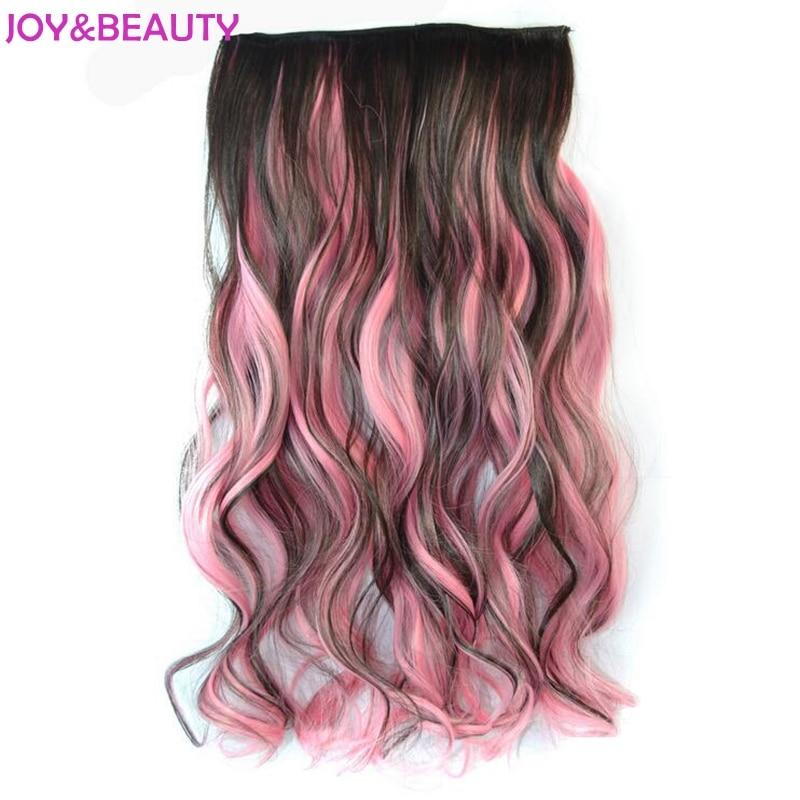 Glädje och skönhet Syntetisk hår Hög temperatur Fiber Clip in på hårförlängningar Långt vågigt hår Mix Färg 5 Clips i hårstycke 22 tum