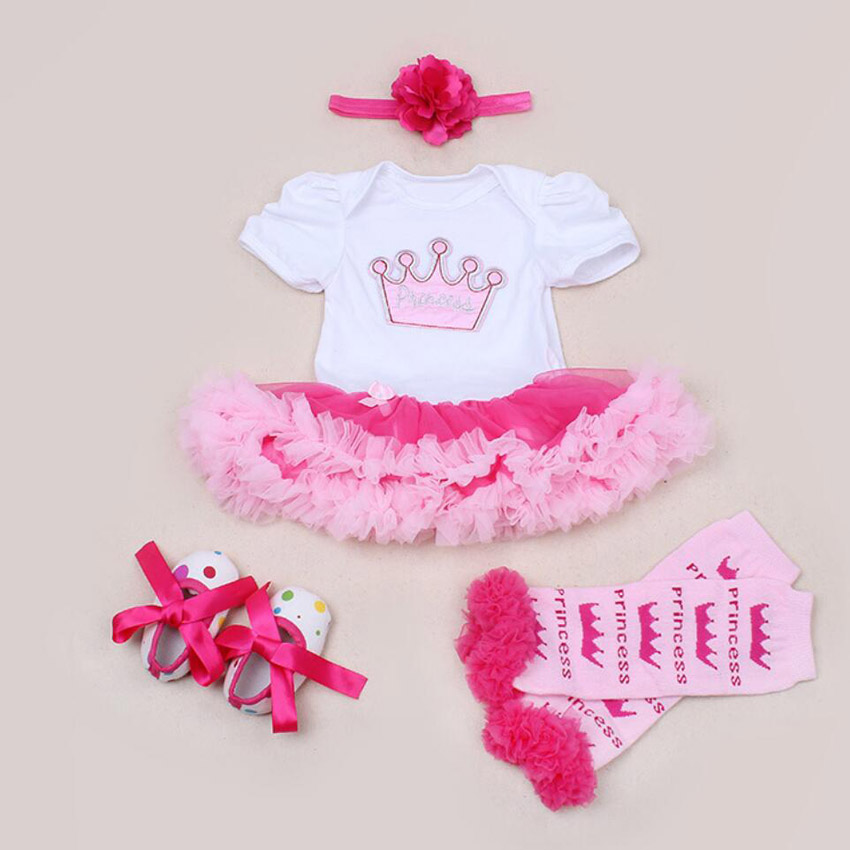 4PCs per Set Pink Hot Pink Princesse Crown Baby Girls Party Dress Jumpersuit Headband Shoes Leggins for 0-24Months
