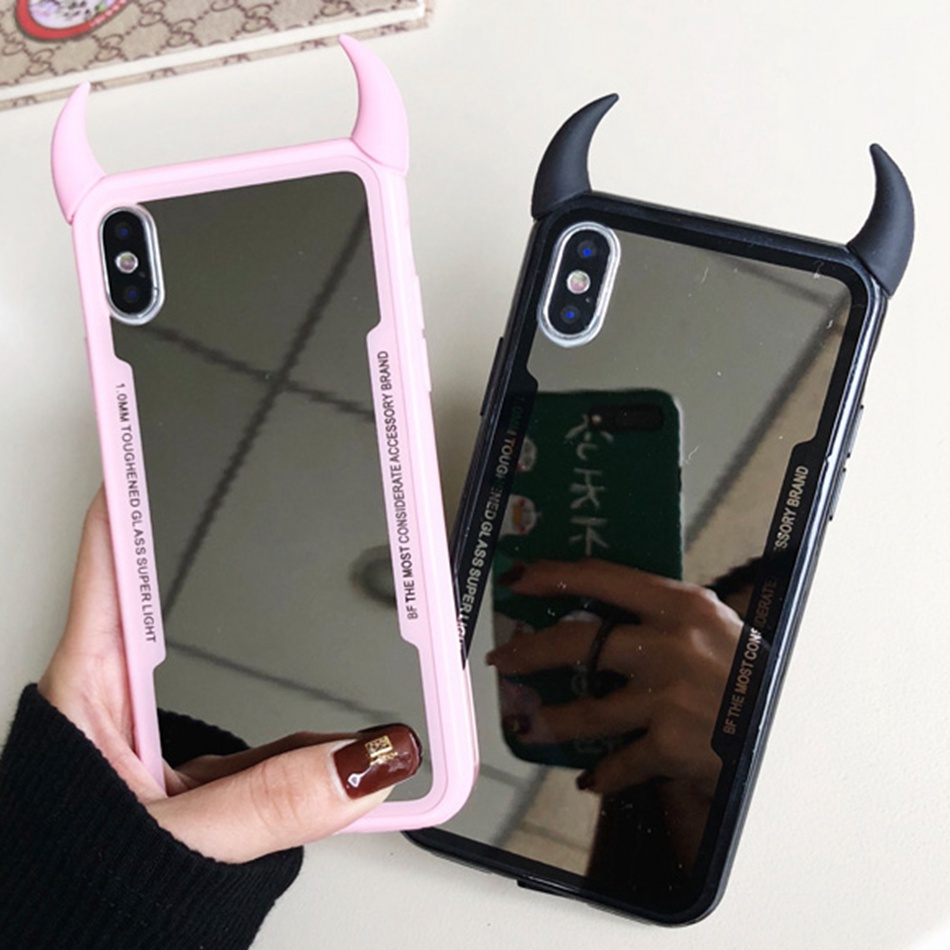 Luxury Mirror Case For iPhone XR X 11 Pro XS Max 7 8 Plus Cute 3D Devil Horn Cover For iPhone 6s 6 Plus Hard Acrylic Case Coque