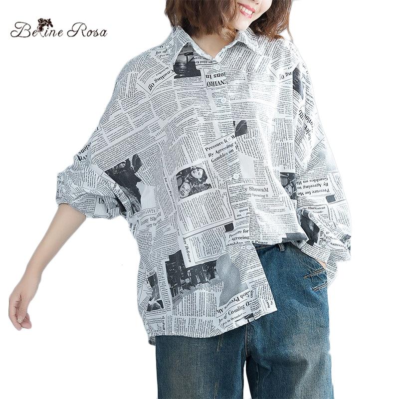 BelineRosa 2018 Women's Printing Blouse Female Autumn Style Lantern Sleeve Full Sleeve Batwing Plus Size Tops For Women JJDM0003
