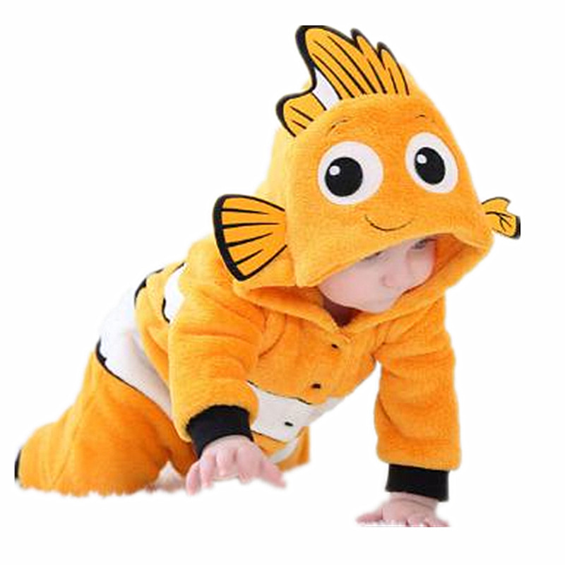 Funny Children Clown Fish Jumpsuit Baby Hare Clown Fish Underwater Story Pajamas Long Sleeve Cosplay Halloween Christmas Costume