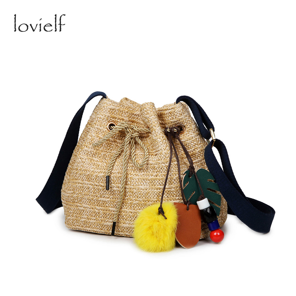 NEW lovielf 2017 Summer Ladies Fashion Straw Plaited Knit Beach Bucket Shoulder