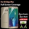 Frente y parte posterior completa cobertura de pantalla protector de pantalla protector para samsung galaxy s6 edge plus tpu película de pantalla f + 2b * 1 soporte