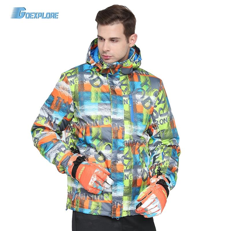 Goexplore Ski Jacket Male -30 degree 2018 Waterproof Windproof Hiking Outdoor Winter Clothes Outerwear Snowboard Snow Jacket Men