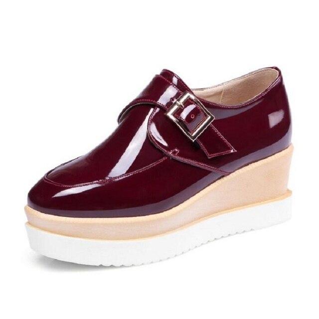 bbdf996c Niza creepers plataforma Vogue Zapatos mujer Encaje patente cuero Oxfords  Bombas cuñas de Moda de Primavera