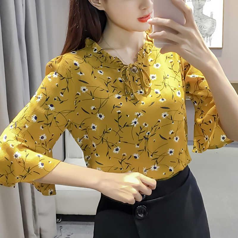 חדש נשים שיפון חולצה חולצות קיץ מקרית פרחוני הדפסת ראפלס אבוקה חצי שרוול תחרה אלגנטית חולצות חולצות בתוספת גודל 3XL