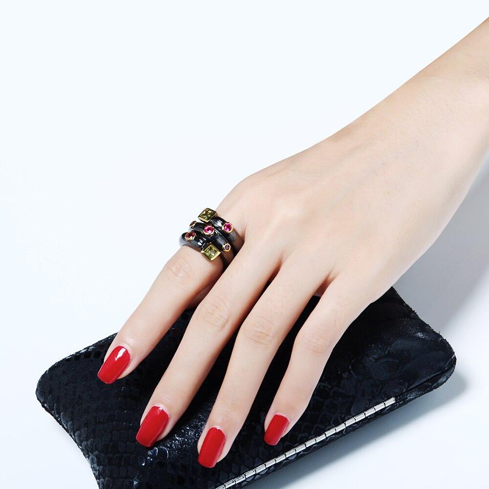 Módní černé prsteny s AAA Square a kulatým vícebarevným křišťálovým šperkem prsteny dámské dámské Dropshipping Fashion ring
