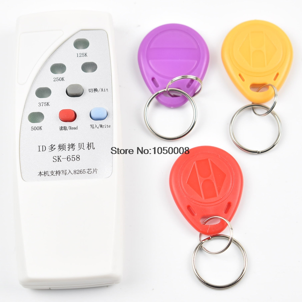 125khz id card access control door RFID Copier Duplicator Cloner EM reader writer +3x EM4305 T5577 5200 writable keyfob