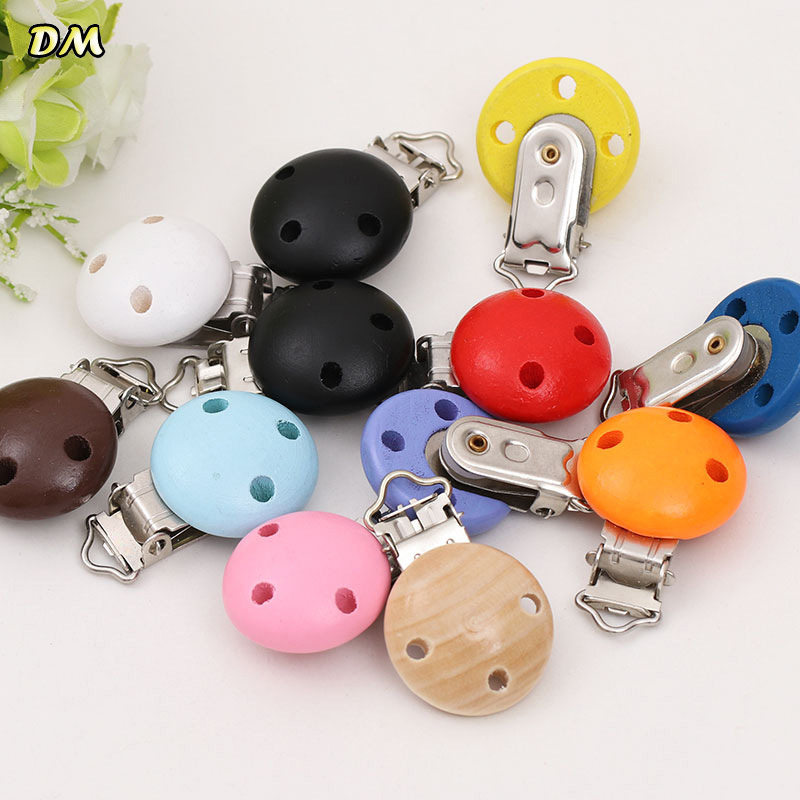 2pcs Metal Wooden Baby Pacifier Clips Holders Cute Infant Soother Clasps Holders Accessories Diy Tool2pcs Metal Wooden Baby Pacifier Clips Holders Cute Infant Soother Clasps Holders Accessories Diy Tool