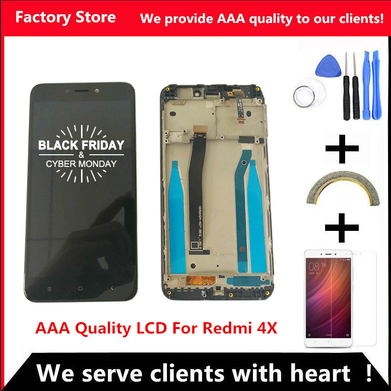 AAA Quality LCD+Frame For Xiaomi Redmi 4X LCD Display Screen Replacement For Redmi 4X Digiziter Assembly(China)