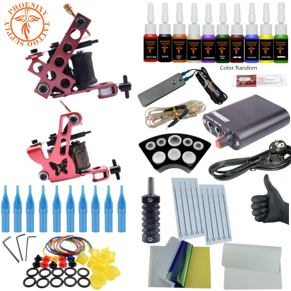 Professional Complete Tattoo Kit Beginner Two Machines Set 8 Wrap Coils Tattoo Gun Pigment Induction Tattoo Power Supply Set