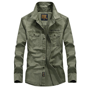 Image 2 - Erkek gömlek uzun kollu camisa sosyal askeri 100% pamuk gömlekler marka bahar sonbahar ordu turn down yaka 4xl gömlek giyim