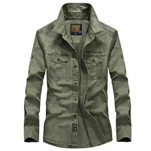 Image 2 - Uomini camicia a maniche lunghe camisa sociale militare 100% camicie di cotone di marca di autunno della molla esercito girare giù il collare 4xl camicie abbigliamento
