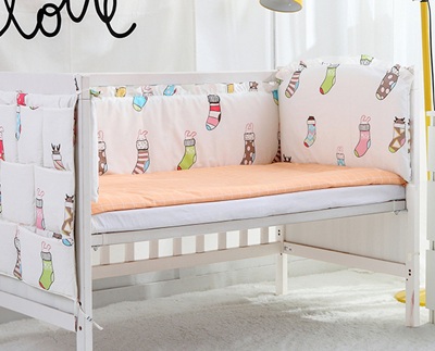 5PCS Cotton Baby Crib Bedding Set Luxury Headrest Crib Bed Character Printing For Baby Cot Set Kit De Berço,(4bumpers+sheet)
