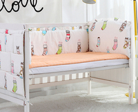 5PCS Cotton Baby Crib Bedding Set Luxury Headrest Crib Bed Character Printing for Baby Cot Set ,(4bumpers+sheet)