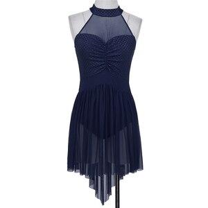 Image 5 - Women Contemporary Lyrical Dance Dresses Halter Neck Polka Dots Irregular Tulle Ballet Dance Dress Gymnastics Leotard Costumes