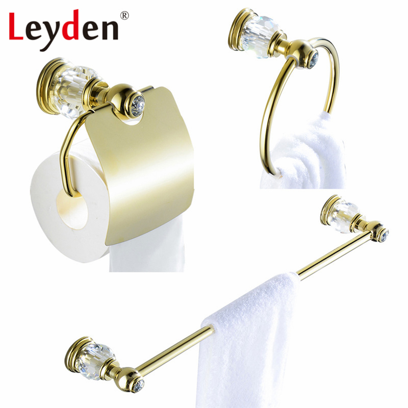 Leyden Luxury Brass Bathroom Accessories Towel Bar Towel Ring Toilet Paper Holder Wall Mounted Crystal Bathroom Accessories Gold free shipping high quality bathroom toilet paper holder wall mounted polished chrome