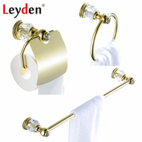 Leyden Luxury Brass Bathroom Accessories Towel Bar Towel Ring Toilet Paper Holder Wall Mounted Crystal Bathroom Accessories Gold