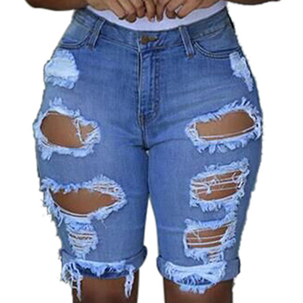 2019 Women Ladies Fashion   shorts   Elastic Destroyed Sexy Holes Solid Color Sheath   Short   Pants Denim   Shorts   Ripped Jeans Plus Size